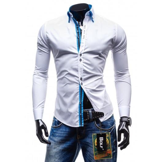 Elegantná bielo-modrá slim fit pánska košeľa