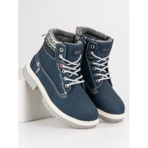 Chlapčenské topánky s kožuštekom v modrej farbe