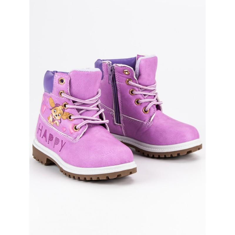 Ružové detské topánky na zimu s motívom tlapkovej patroly c0275a1eb3
