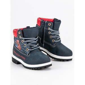 Rozprávkové čierne detské zimné topánky s motívom spiderman