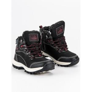 Čierne detské topánky so zipsom na hrubej podrážke