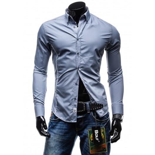 Štýlová pánska slim fit košeľa sivej farby