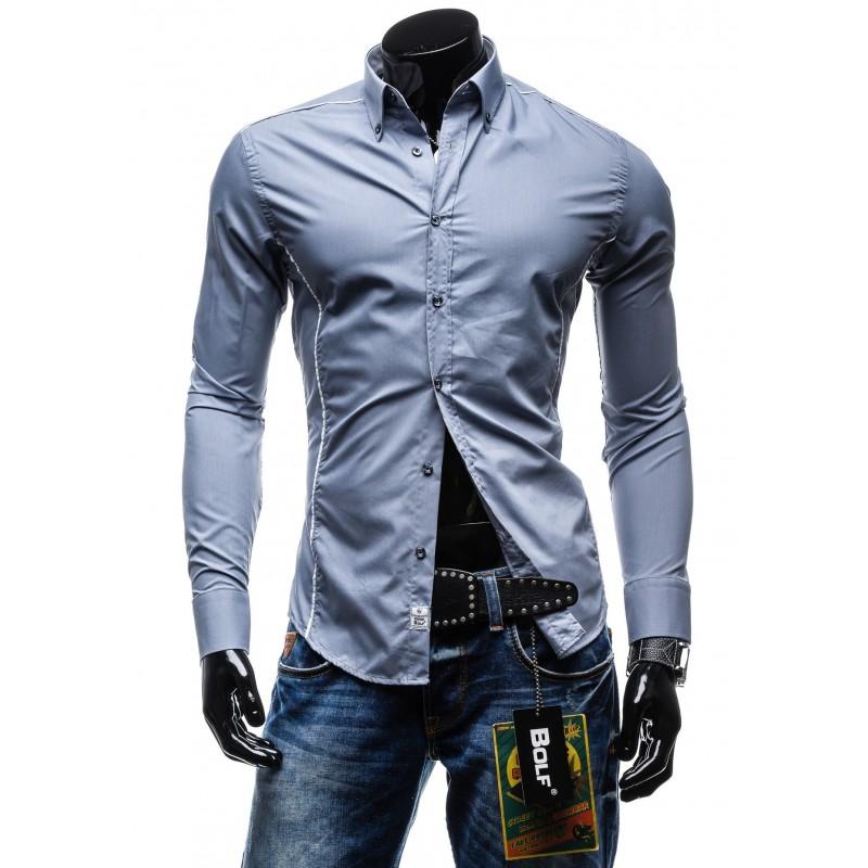 a56e5a69d603 Štýlová pánska slim fit košeľa sivej farby - fashionday.eu