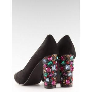 Exkluzívne čierne dámske lodičky s farebnými kamienkami na opätku