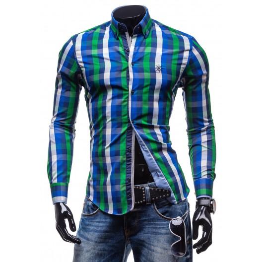 Moderná kockovaná košeľa s dlhým rukávom zeleno-modrej farby