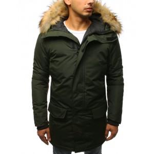 Pánska zimná bunda s odnímateľnou kapucňou v zelenej farbe