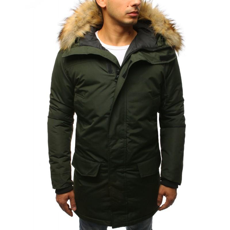 e1a1be3932 Pánska zimná bunda s odnímateľnou kapucňou v zelenej farbe