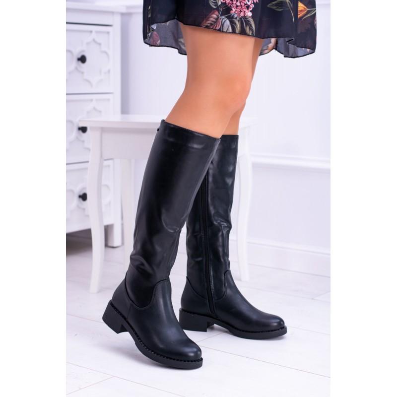 9bdcf6a81c85 Čierne dámske čižmy pod kolená na nízkom opätku