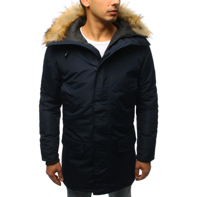 Predĺžená pánska zimná bunda v modrej farbe s kožušinou 894968ac6b5