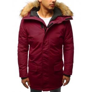 Pánska dlhá zimná bunda v bordovej farbe na zips