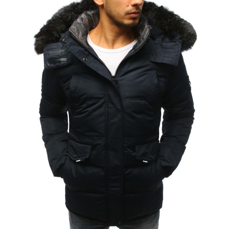 Značková pánska zimná bunda s kožušinou v modrej farbe 6f928995a6e