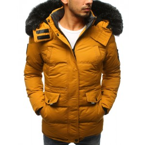 Pánska zimná bunda v žltej farbe s odnímateľnou kožušinou