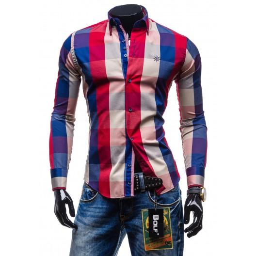 Moderná kockovaná košeľa s dlhým rukávom červeno-modrej farby