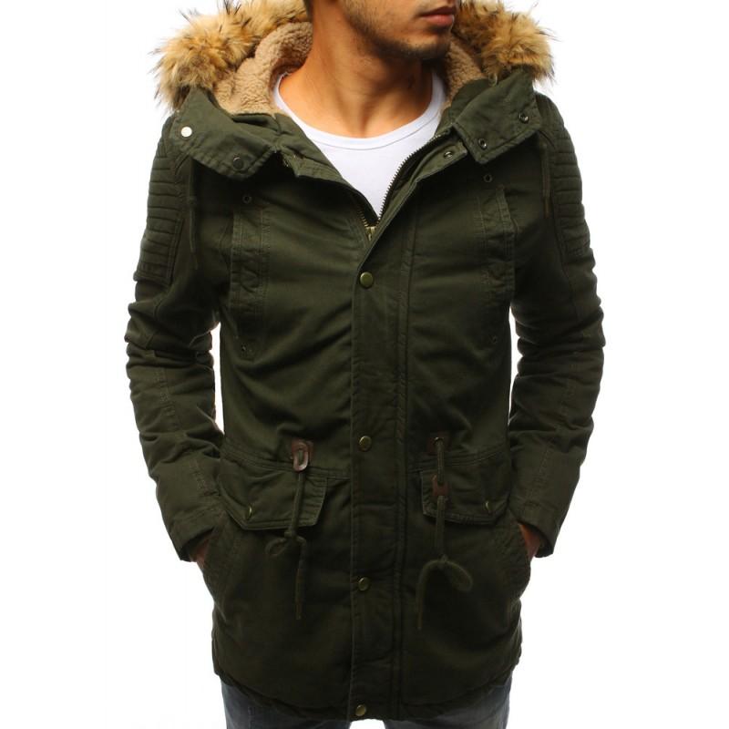 Pánska zimná bunda s kožušinou v zelenej farbe 5b703dadc7f