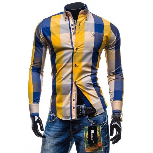 Moderná kockovaná košeľa s dlhým rukávom žlto-modrej farby