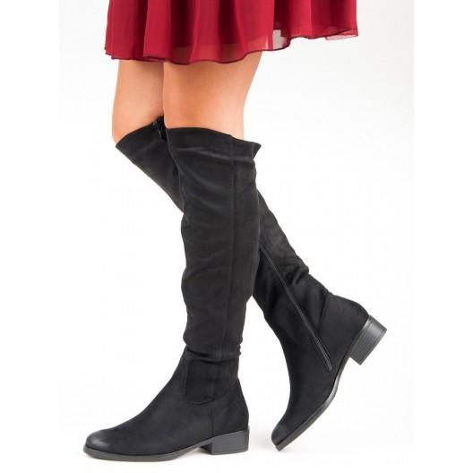 Semišové vysoké čierne čižmy pre dámu so strieborným štrásom