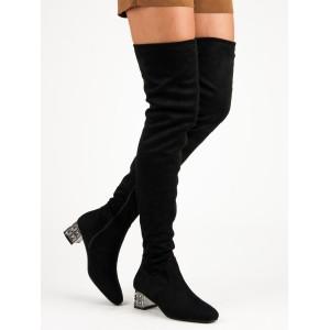 Dámske čierne zimné čižmy nad kolená s módnym strieborným opätkom