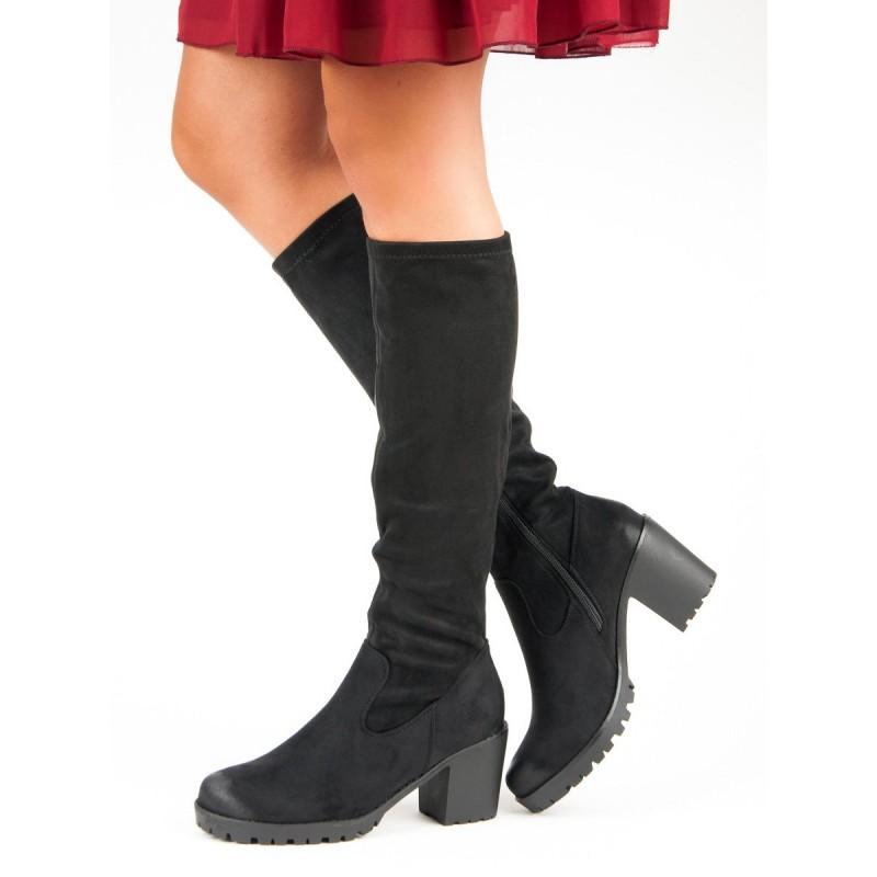 e4090b6ba35ca Čierne semišové dámske čižmy pod kolená na dráperovej podrážke