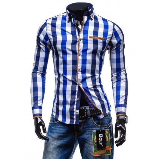 Moderná kockovaná košeľa s dlhým rukávom modro-bielej farby farby