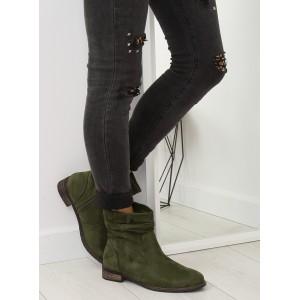 Dámske zimné kotníkové topánky zelenej farby