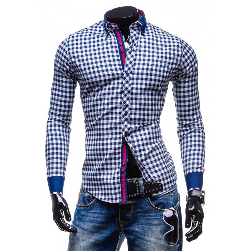d15a0ce70986 Predchádzajúci. Moderná kockovaná košeľa s dlhým rukávom modro-bielej ...