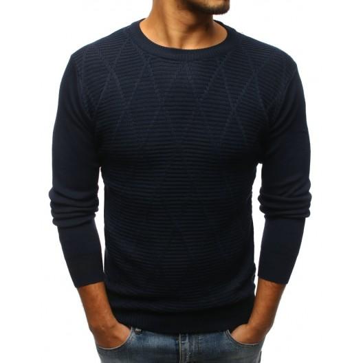 Elegantný pánsky sveter tmavo-modrý so vzorom