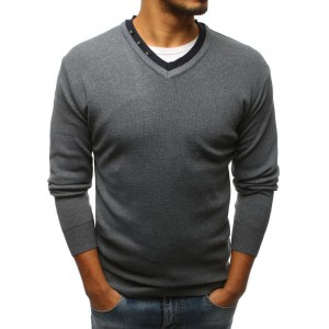 Moderný pánsky sivý sveter do tvaru V s ozdobnými gombíkmi