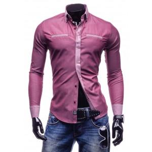 Štýlová pánska slim fit košeľa ružovej farby