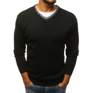 Pánsky sveter cez hlavu v čiernej farbe s gombikmi do tvaru V
