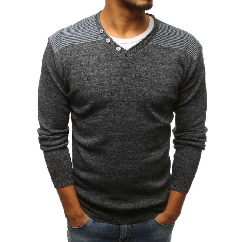 46c54917f0d8 Štýlový pánsky sveter antracitový do tvaru V s pruhmi na ramenách