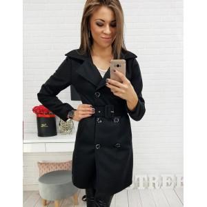 Čierny dámsky dvojradový kabát so štýlovým opaskom