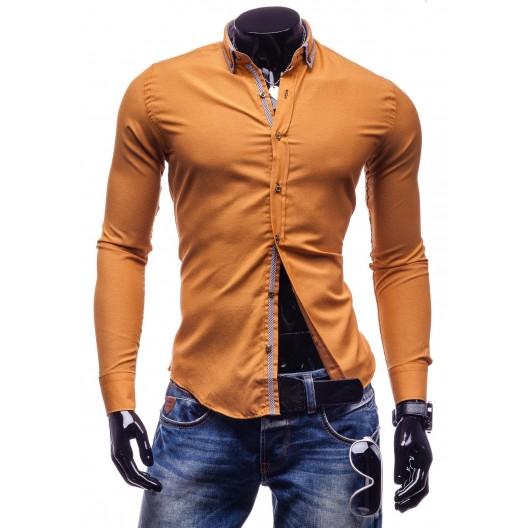 Karamelová pánska športová športová košeľa