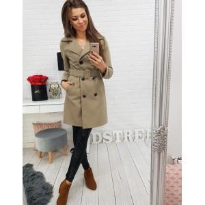 Elegantný dámsky dvojradový béžový kabát s trendy opaskom