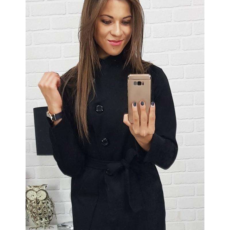 Zimný kabát dámsky v čiernej farbe s opaskom krátky 6fa86fa9f8b