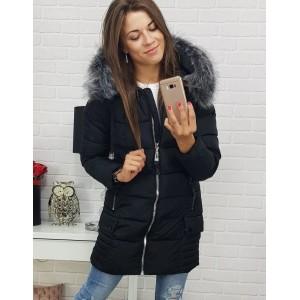 Dámska zimná bunda s kapucňou a kožušinou so striebornými zipsami