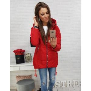 Dámska športová bunda v červenej farbe s kapucňou a trendy zipsami