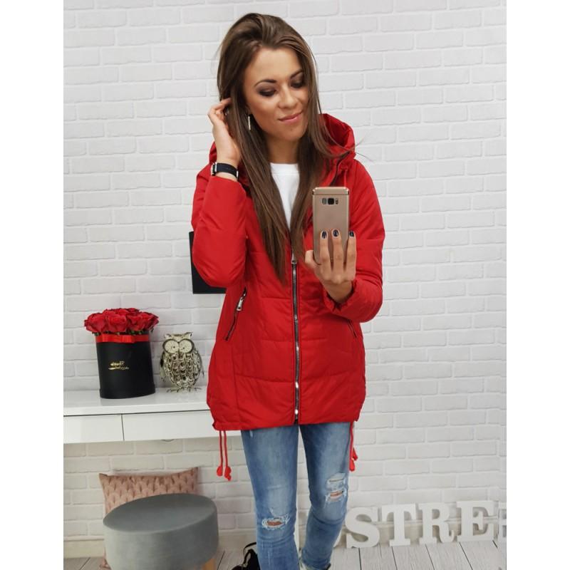 Dámska športová bunda v červenej farbe s kapucňou a trendy zipsami 5126d8260bc