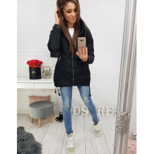 Trendy čierna prechodná dámska bunda s kapucňou a bočnymi šnúrkami