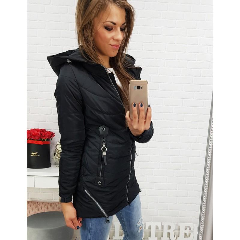 Štýlová čierna dámska bunda s trendy striebornými zipsami a kapucňou 22f097e0822