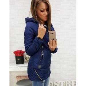 Tmavo-fialová dámska bunda s podšívkou ozdobnými zipsami a kapucňou