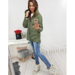 Moderná zelená dámska bunda so zapínaním na zips a kapucňou