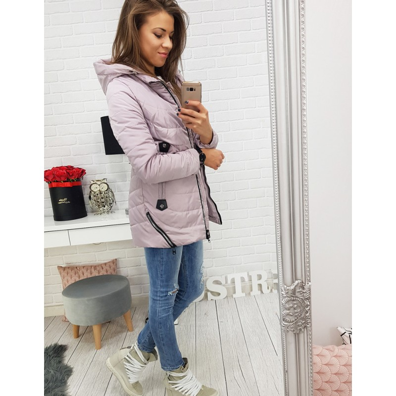 Prechodná dámska bunda ružová s ozdobnými zipsami a kapucňou 42fa349561