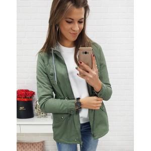 Trendy dámska zelená bunda na sťahovanie v páse a sivou kapucňou