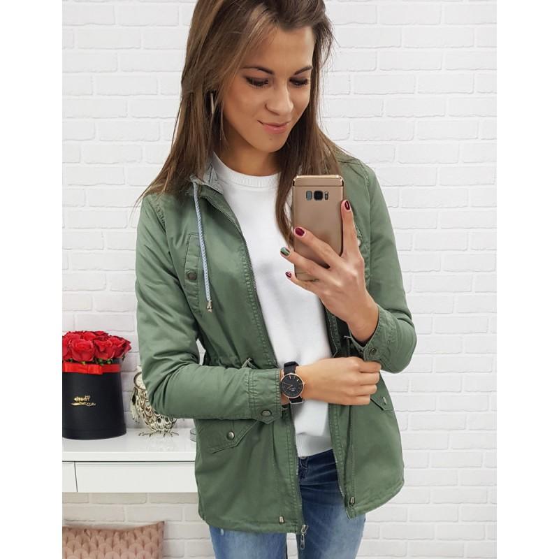Trendy dámska zelená bunda na sťahovanie v páse a sivou kapucňou b47ee7de066