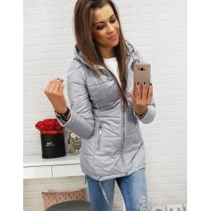 Sivá dámska prechodná bunda s bočnými vreckami na zips a kapucňou