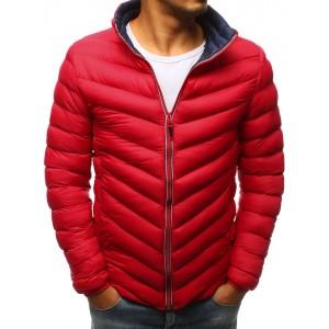 Červená pánska zimná bunda so stojačikom a kontrastnou podšívkou