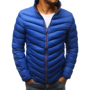 Modrá pánska zimná bunda so stojačikom a tmavomodrou podšívkou
