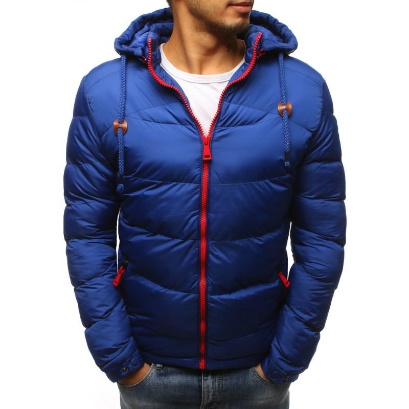 Štýlová modrá pánska zimná bunda s kontrastným červeným zipsom 5e6b8393b39