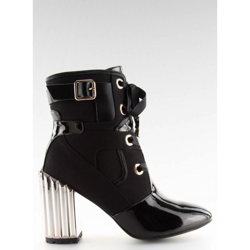 0dc772c5ce Dámske členkové metalické topánky v čiernej farbe