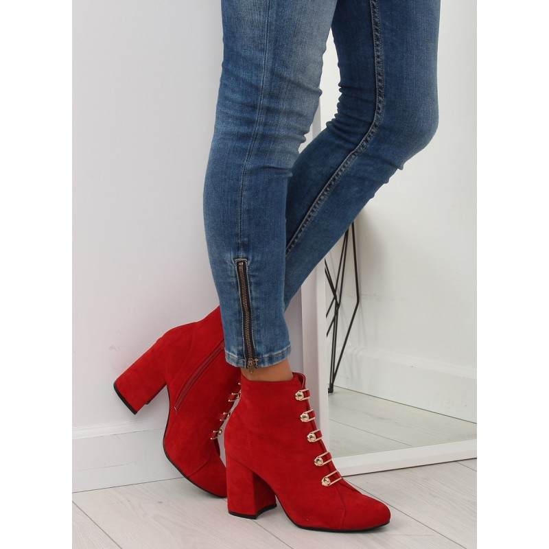 Členkové dámske topánky na hrubom podpätku v červenej farbe c1a22414b99